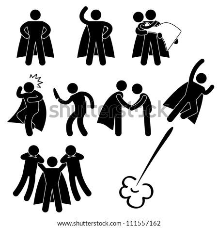 Superhero Hero Rescue Help Protect Girl Fly Icon Symbol Sign Pictogram - stock vector