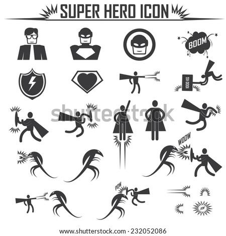 superhero icons  - stock vector