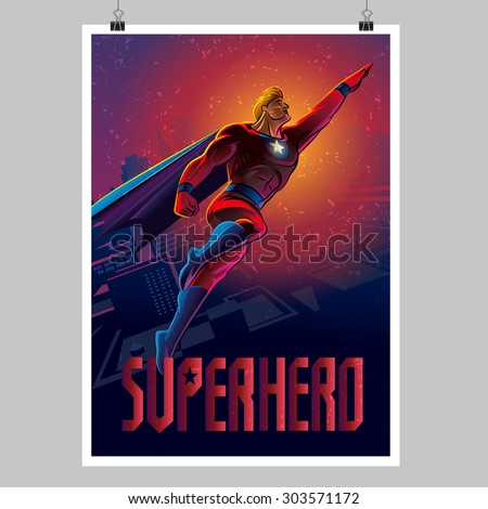 Superhero in action. Flying over night city. Poster layout - stock vector