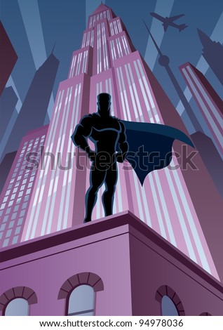 Superhero in City: Superhero watching over the city. No transparency used. Basic (linear) gradients. A4 proportions. - stock vector