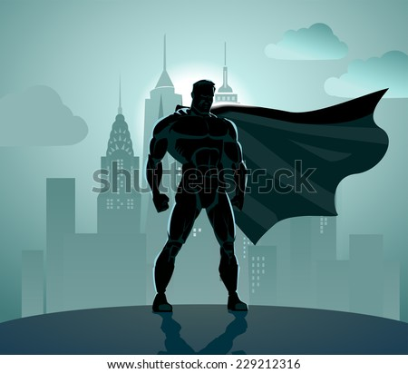 Superhero in City: Superhero watching over the city. Standing over industrial background. - stock vector