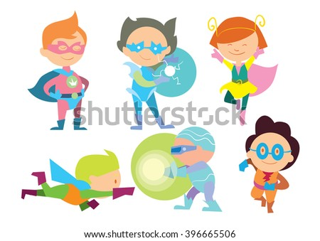 Superhero kids isolated on white background. Superhero costume for kids. Super child. Fun game. Vector superhero kids. Isolated superhero. Funny kids. Kids icon. Kids playing in superhero. Hero boy. - stock vector