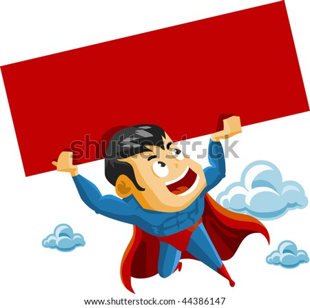 Superhero lifts Sign. Detailed vector Illustration. - stock vector