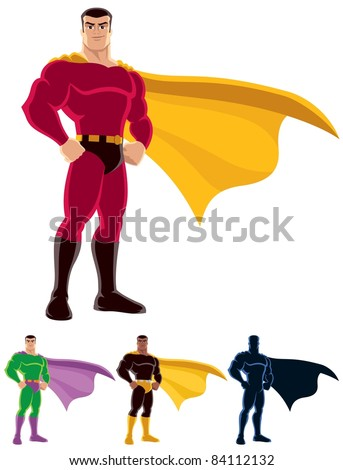 Superhero over white background. Below are 3 additional versions. One of them is silhouette. - stock vector