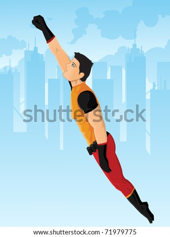 superhero protecting the city,the hero and the background are set on different layer - stock vector