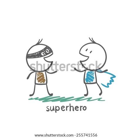 superhero standing next to a gunman illustration - stock vector