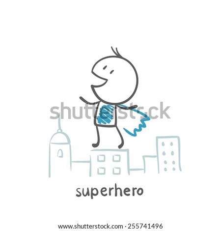 superhero standing on the roof of the city illustration - stock vector