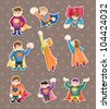superhero stickers - stock vector