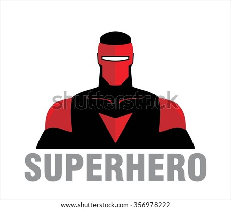 superhero. superhero with the full mask. muscular man with the red mask. simple flat  superhero illustration compose with text. half body of superhero combine with text.  - stock vector
