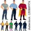 Superhero Transformation: Ordinary man transforms into superhero. No transparency and gradients used. - stock vector