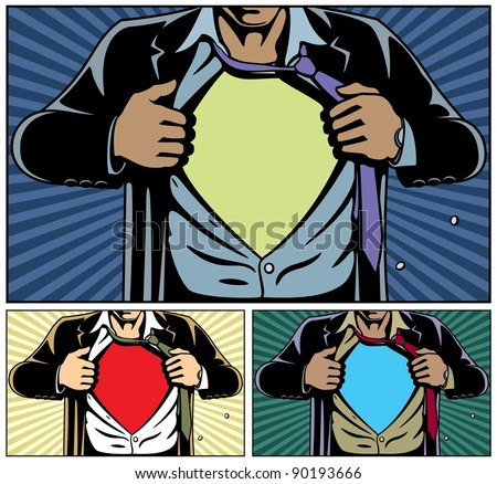 Superhero Under Cover: Superhero under cover, comic book style. Add your logo on the shirt. Colors are very easy to change. No transparency and gradients used. - stock vector