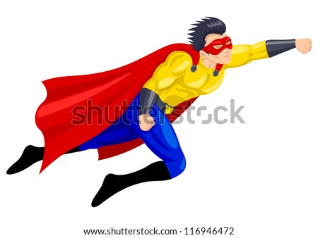 Superhero with a mask in flying pose - stock vector
