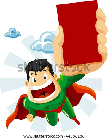Superhero with Ads. Detailed vector Illustration.