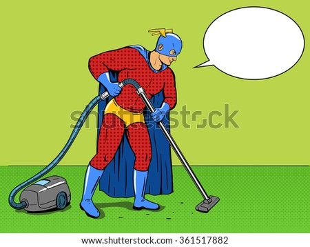 Superhero  with vacuum cleaner pop art style vector illustration. Comic book style - stock vector