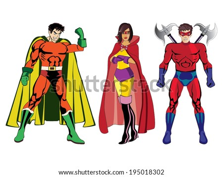 Superheroes vector #1 - stock vector