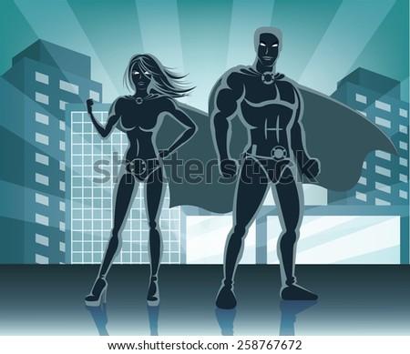 Superheroes vector illustration  - stock vector