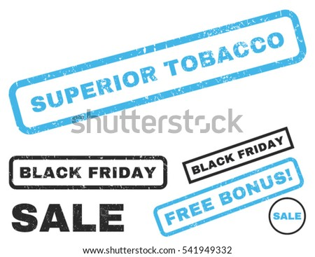Superior Tobacco rubber seal stamp watermark with additional design elements for Black Friday sales. Vector blue and gray stickers.
