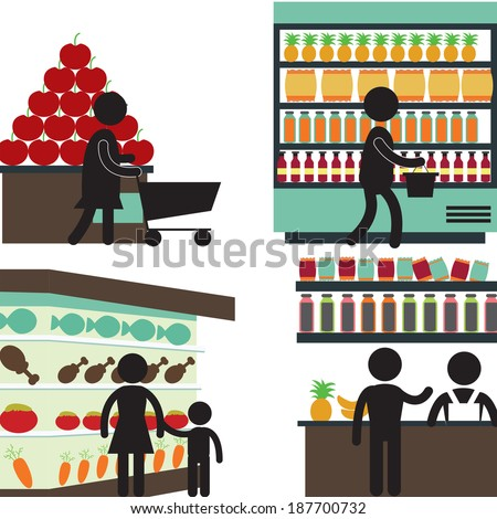 supermarket - stock vector