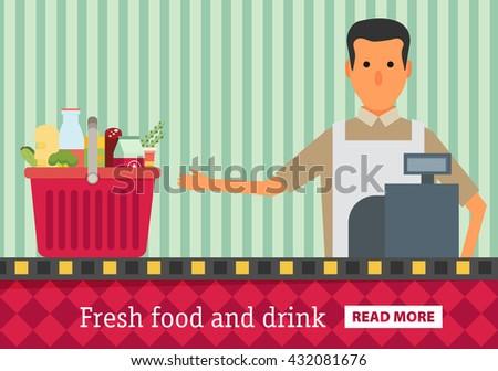 Supermarket. Buy grocery in the supermarket. Vector flat design illustration - stock vector