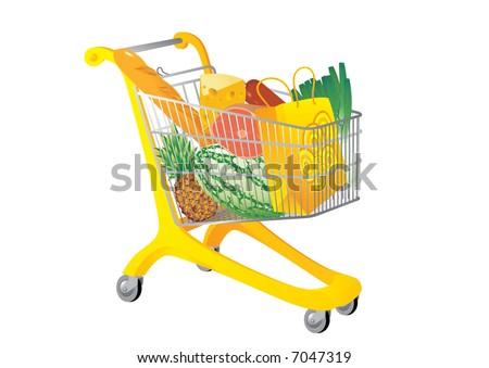 Supermarket cart. Vector illustration - stock vector