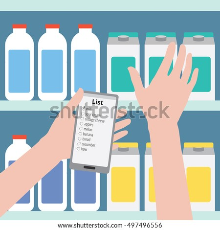 Supermarket. Flat design vector illustration. Man is holding a phone with a shopping list on a background of bottles, the other hand takes the product off the shelf