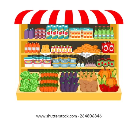 Supermarket. Food on shelves eggplant cabbage carrot peppers onions corn bread potatoes. Shopping and fresh. Vector illustration - stock vector