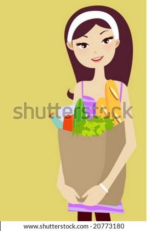 supermarket girl - stock vector