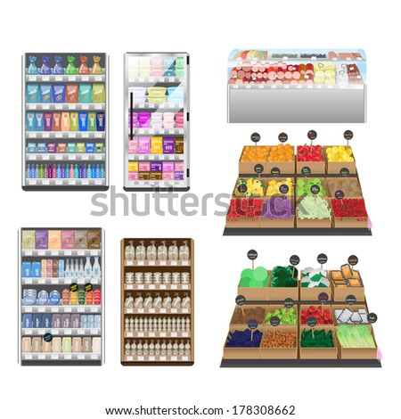 Supermarket Interior Set - Isolated On White Background - Vector Illustration, Graphic Design Editable For Your Design - stock vector