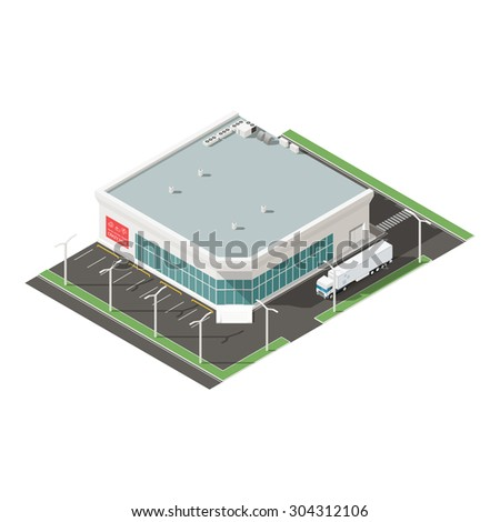 Supermarket isometric isons set vector graphic illustration - stock vector