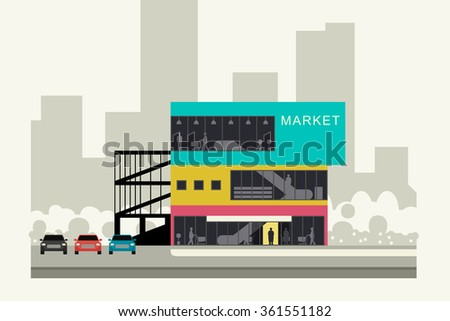 Supermarket on the roadside. Store banner in flat style. Vector illustration. - stock vector