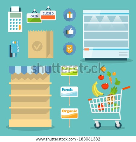 Supermarket online website concept with food assortment, opening hours and payment options icons illustration vector - stock vector