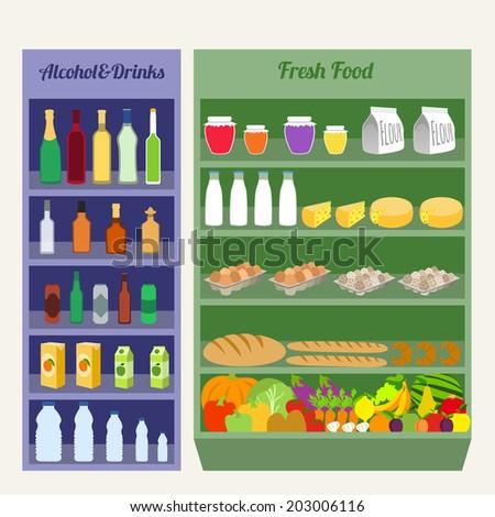Supermarket shelves fresh food alcohol and drinks flat vector illustration - stock vector