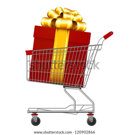 Supermarket shopping cart full of holyday gifts. Vector. - stock vector
