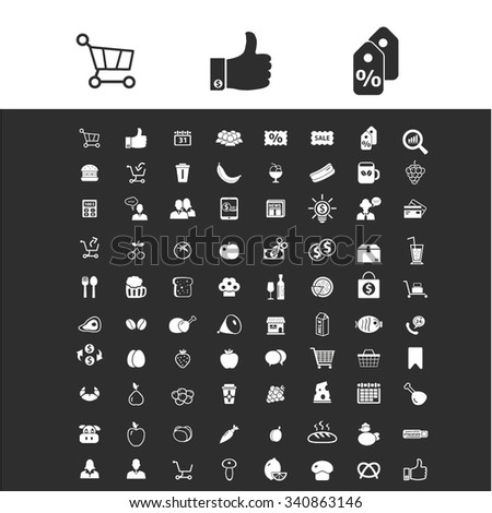 supermarket shopping retail  icons, signs vector set for infographics, mobile, website, application  - stock vector