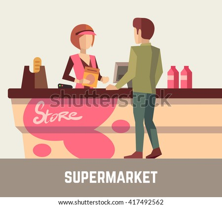 Supermarket store assistant, cashier woman at cash register and customer. Sale retail service. Vector illustration - stock vector