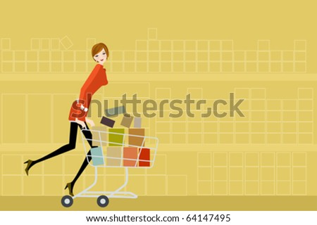 supermarket woman - stock vector