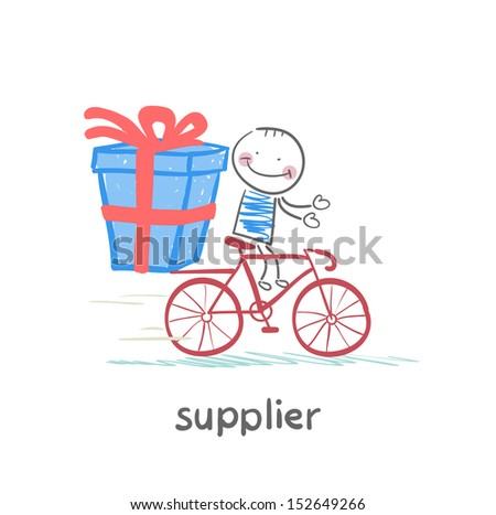 supplier supplier rides a bike with the goods - stock vector