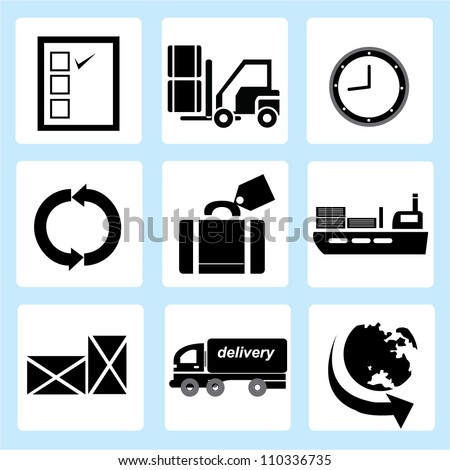 supply chain management icon set, shipping icon set