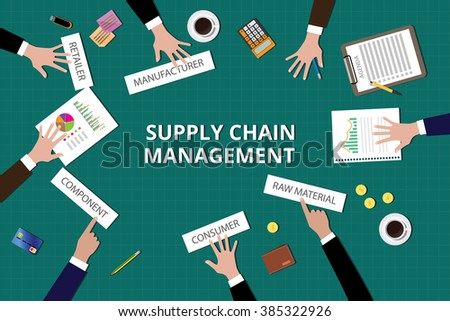 supply chain management illustration vector team work together on top of the table - stock vector