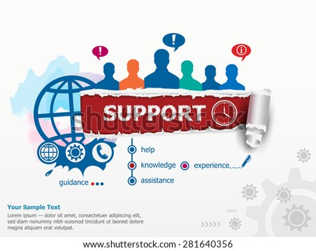 Support concept and group of people. Set of flat design illustration concepts for business, consulting, finance, management, career, human resources.   - stock vector