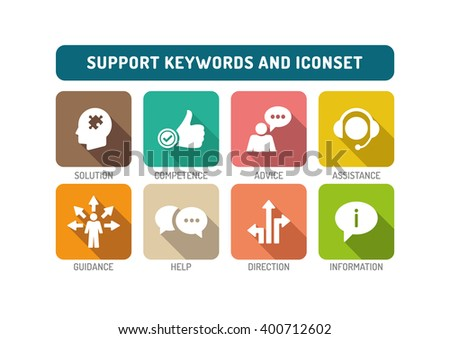 Support Flat Icon Set - stock vector