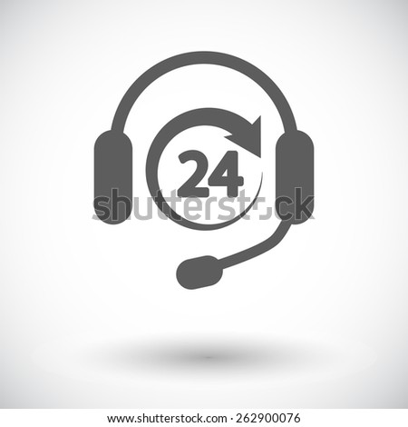 Support 24 hours. Single flat icon on white background. Vector illustration. - stock vector