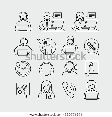 Support operators working on computers vector icons  - stock vector