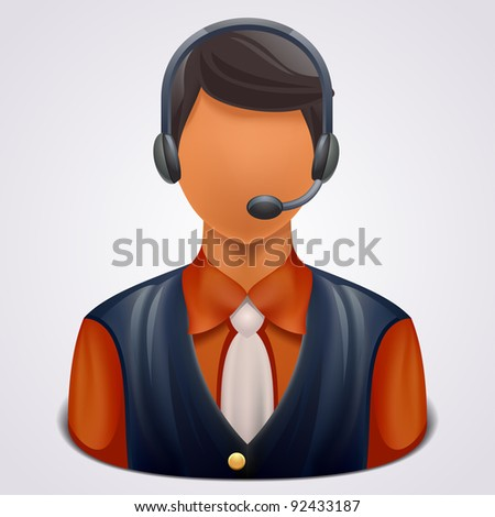 Support phone operator in headset - stock vector