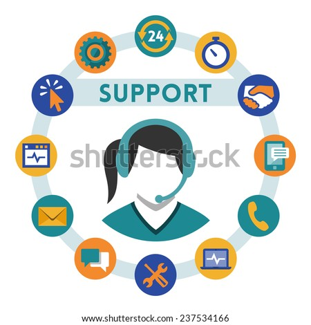 Support related vector icons, girl with a headset - stock vector