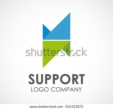 Support ribbon triangle connection abstract vector and logo design or template business group icon of company identity symbol concept - stock vector
