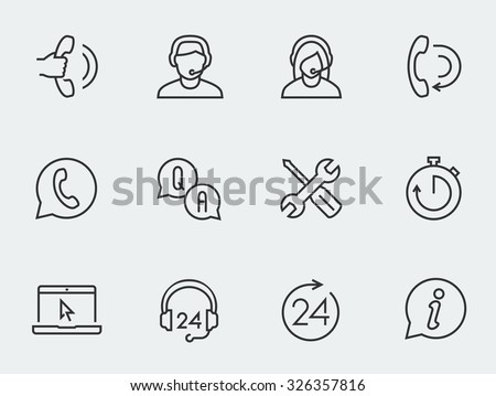Support service vector icon set, thin line design - stock vector