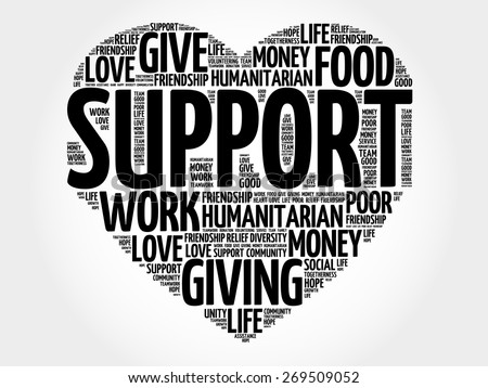 Support word cloud, heart concept - stock vector