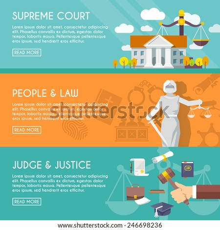 Supreme court judge and blindfolded justice with sword and scales people law flat horizontal banners vector illustration - stock vector
