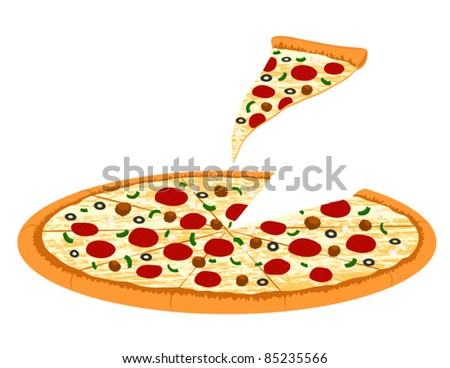 Supreme Pizza with Slice - Vector Illustration - stock vector
